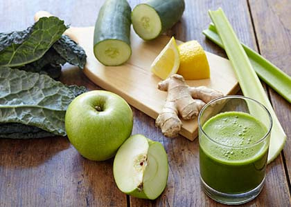green veggie and fruit juice