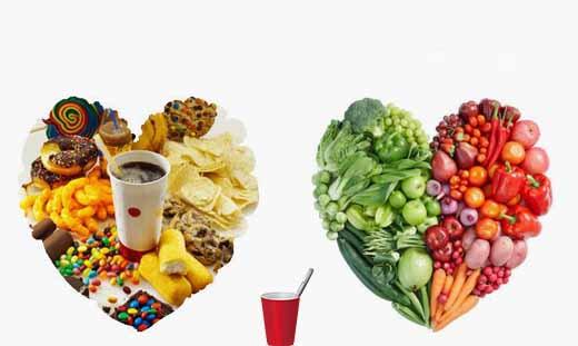 food organized in heart shape