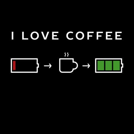 i love coffee picture of battery charging with coffee icon