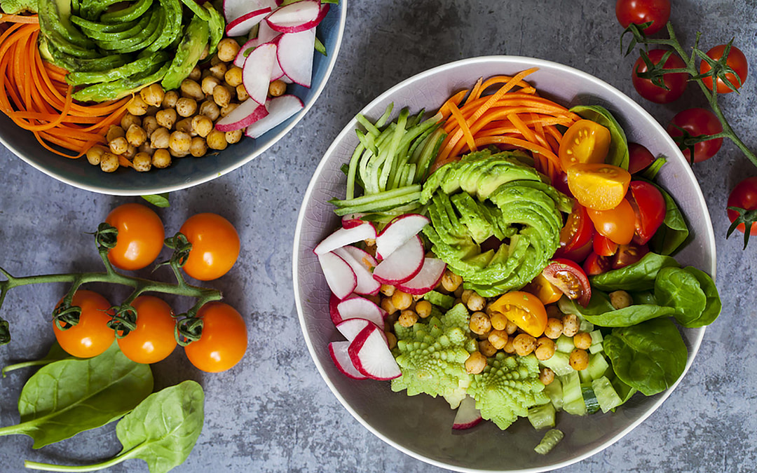vegetable bowl with variety of veggies